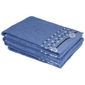Handtuch 4-teilig, Punkte blau