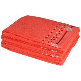 Handtuch 4-teilig, Punkte korallenrot