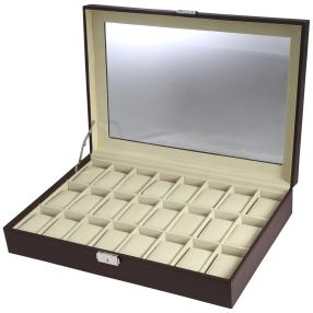 Uhrenbox für 24 Uhren, PU Leder braun, Velour