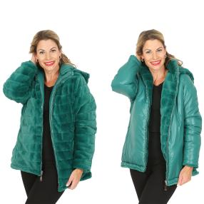 FASHION NEWS Wende-Webpelz-Jacke, smaragd
