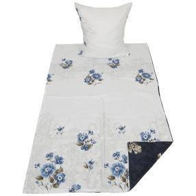 AllSeasons Bettwäsche 2tlg. Blumen blau-weiss