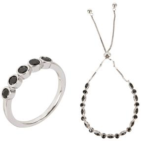 2-teiliges Set Ring+Armband 925 St. Silber Spinell