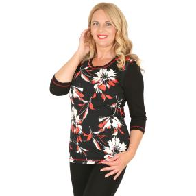 RÖSSLER SELECTION Damen-Shirt schwarz/weiß/rot
