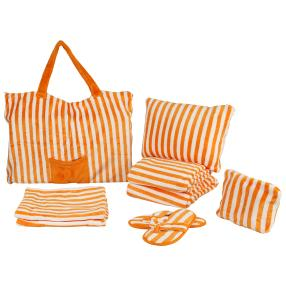 Frottierset 8tlg. orange-gestreift