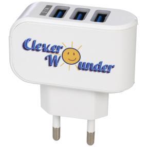 CleverWounder Highspeed 3-fach USB-Lader, weiß