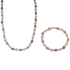 Set Kette+Armband Amethyst+Perle
