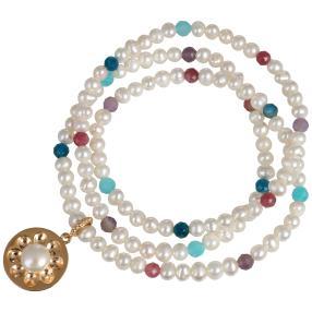 Wickelarmband Perle + Turmalin + Apatit