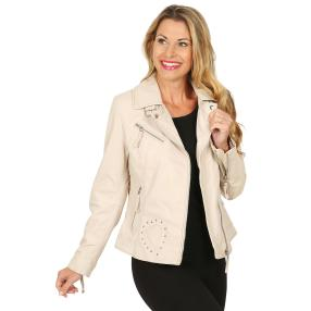 BLUE MONKEY Damen-Lederjacke 'Heart' sand