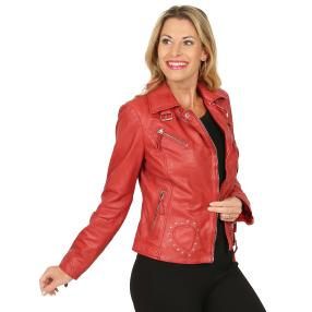 BLUE MONKEY Damen-Lederjacke 'Heart' rot