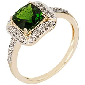 Ring 375 Gelbgold, AAA Chromdiopsid
