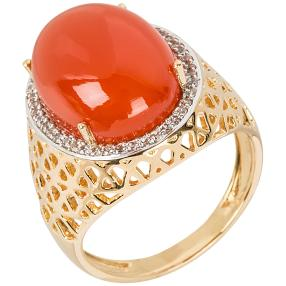 Ring 925 St. Silber vergoldet Karneol+Zirkon