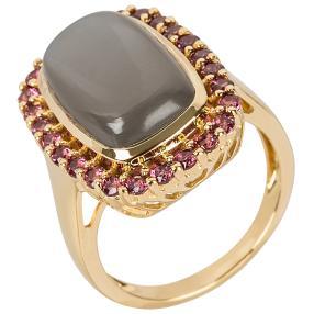 Ring 925 Silber vergoldet Monstein+Rhodolith