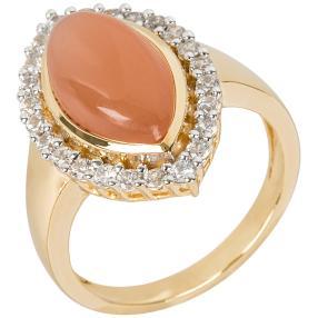 Ring 925 Silber vergoldet Mondstein+Zirkon