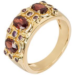 Ring 925 Silber vergoldet Granat+Amethyst