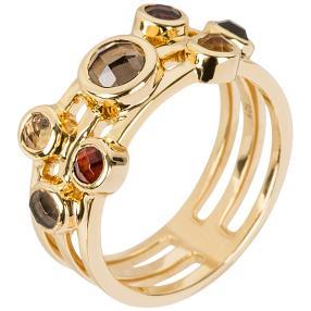 Ring 925 Silber vergoldet Granat+Rauchquarz