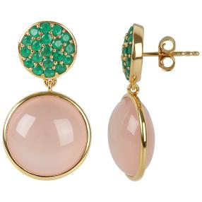 Ohrhänger 925 vergoldet Chalzedon pink