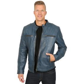 OTTO KERN Herren-Lederjacke 'Braxton' jeansblau