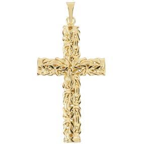 Kreuzanhänger 585 Gelbgold, Königsdesign
