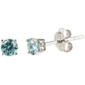 Ohrstecker 925 Sterling Silber, Zirkon blau