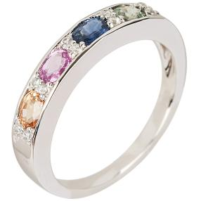 Ring 925 Sterling Silber, Saphir multicolor