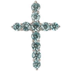 Kreuzanhänger 925 Sterling Silber, Zirkon