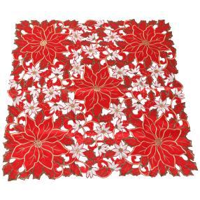 Mitteldecke Blumen rot-weiß 85x85 cm
