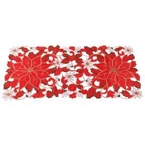 Tischläufer Blumen bestickt, rot-gold-weiß