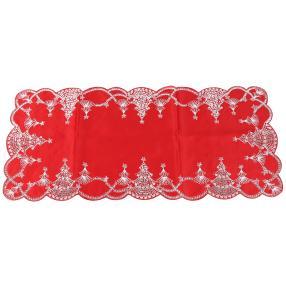 Tischläufer Weihnachtsbäume rot-silber 40x90 cm