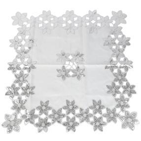 Mitteldecke weiß-silber 85x85 cm
