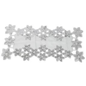 Tischläufer Blumen weiß-silber 85x85 cm