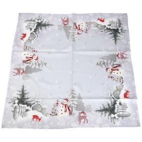 Mitteldecke Weihnachtsmotiv weiß 85x85 cm
