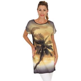 Damen-Longshirt, multicolor/schwarz