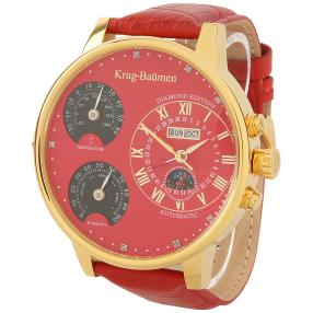 "Krug Baümen ""Weather"" Herrenuhr Automatik rot"