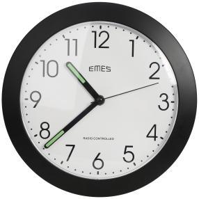 EMES Funkwanduhr schwarz