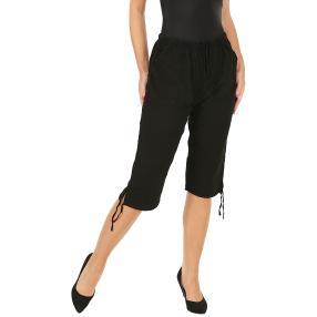 Leichte Damen-Caprihose mit Gummizug, schwarz