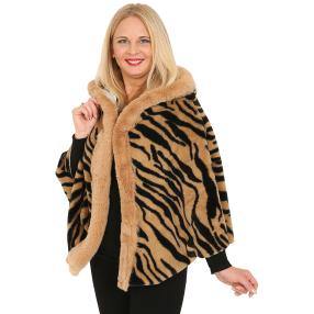 FASHION NEWS Webpelz-Cape schwarz/camel