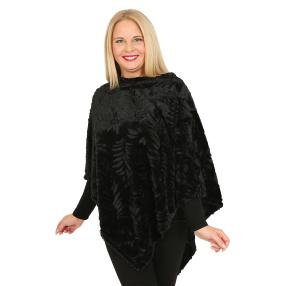 FASHION NEWS Webpelz-Poncho schwarz