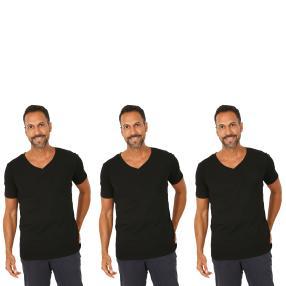 3er Pack Männer T-Shirt (Rippe)  schwarz
