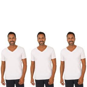 3er Pack Männer T-Shirt (Rippe)  weiß