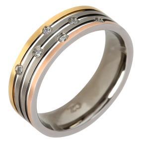 Ring Titan tricolor mit Zirkonia