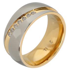 Ring Titan bicolor, mit Zirkonia