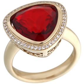 Ring 925 St. Silber vergoldet Bernstein rubinrot