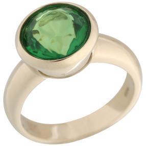 Ring 925 St. Silber vergoldet Bernstein grün