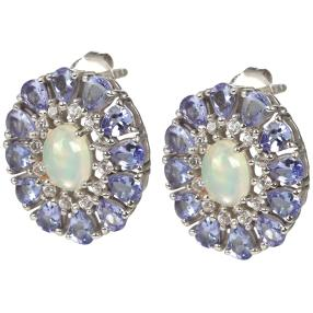 Ohrstecker 925 Sterling Silber, Äthiopischer Opal