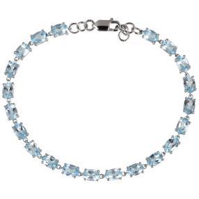 Armband 925 Sterling Silber Blautopas behandlet