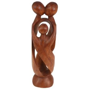 Holzskulptur Familie 30 cm