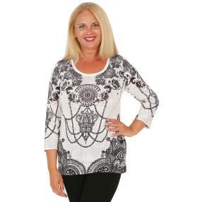 BRILLIANTSHIRTS Damen-Shirt weiß/schwarz