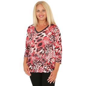 BRILLIANTSHIRTS Damen-Shirt schwarz/weiß/rot