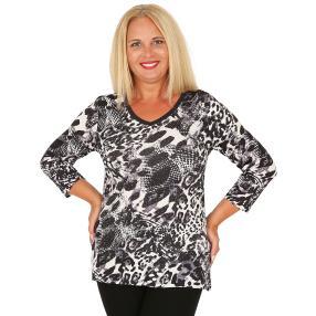 BRILLIANTSHIRTS Damen-Shirt schwarz/weiß