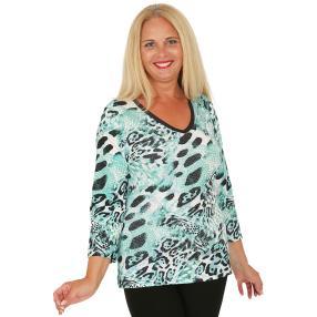 BRILLIANTSHIRTS Damen-Shirt schwarz/weiß/grün